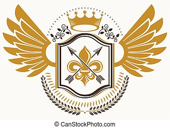 Vintage decorative heraldic vector emblem composed with eagle wings, spears and royal crown