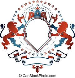 Graphic winged emblem Lion heraldic animal element, medieval tower and hatchets. Heraldic Coat of Arms decorative logo isolated vector illustration.