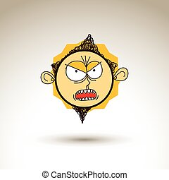 Vector art hand drawn illustration of angry person, emotions...
