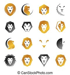 Lion Faces heraldic elements set. Heraldic Coat of Arms decorative logos isolated vector illustrations collection.