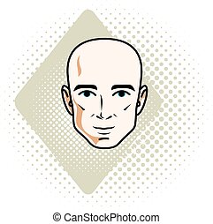 Man face, human head. Vector character, handsome bald male.