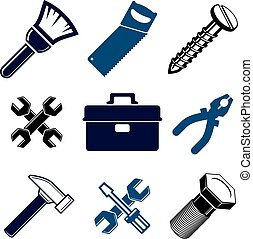 Set of 3d detailed tools, vector repair theme stylized...