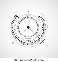 vector, elementos, fondo, técnico, Sistema,  digital, cianotipo, Ilustración, blanco, ingeniería, círculos, negro, Plano de fondo, tecnológico, diseño, geométrico, Extracto