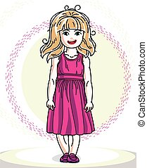 Little blonde cute girl toddler in casual clothes. Vector Illustration of pretty child standing.