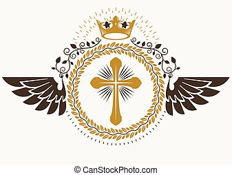Vintage winged emblem created in vector heraldic design and composed using religious cross, and monarch crown.