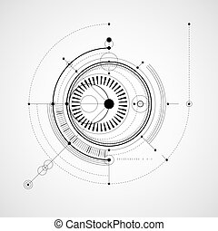 Monochrome geometric technology vector drawing, technical wallpaper. Abstract scheme of engine or engineering mechanism.