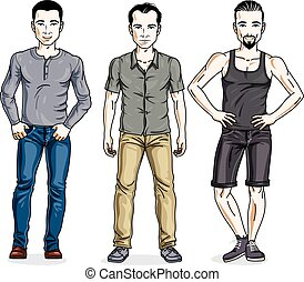 Happy men standing in stylish casual clothes. Vector set of beautiful people illustrations.