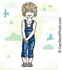Little blonde cute girl toddler in casual clothes standing on nature backdrop with birds and clouds. Vector illustration of pretty child.