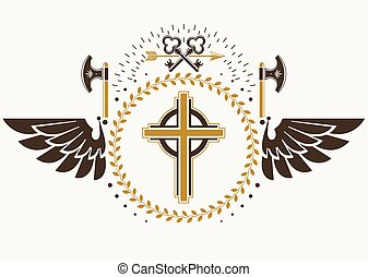 Vintage winged emblem created in vector heraldic design and composed using religious cross, hatchets and security keys.