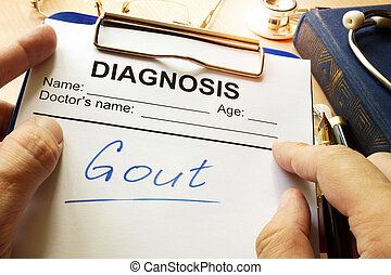 Gout written on a medical form.