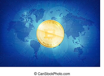 Abstract dark blue background bitcoin concept with print circuit board world map and lighting element vector illustration eps10
