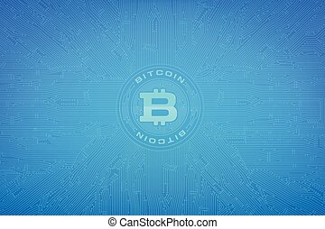 Abstract background bitcoin concept with print circuit board element vector illustration eps10