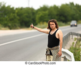 hitchhiker - Young hitchhiker hopes to transport