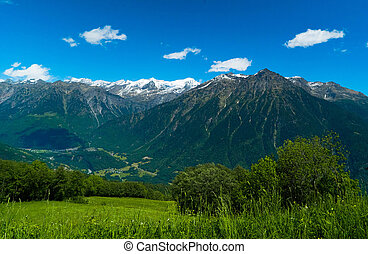 Alpine sunny mountains in the summer.