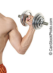 Young muscleman training with dumbbell