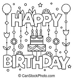 Vector Illustration of happy birthday sign coloring page ...