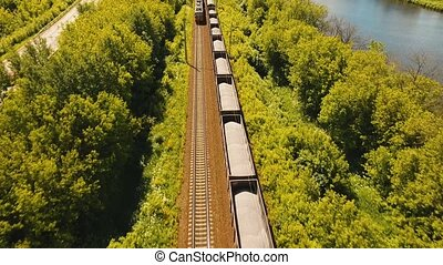 Freight train on the railway - Freight train with cisterns...