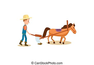 Farmer and horse plowing isolated vector icon