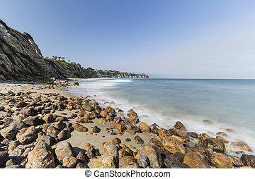 Dume Cove Rocky Shore with Motion Blur Water Malibu...