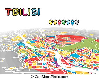 Tbilisi, Georgia, Downtown 3D Vector Map of Famous Streets....