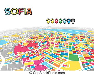 Sofia, Bulgaria, Downtown 3D Vector Map of Famous Streets....