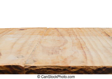 Wood table top floor with isolated white background