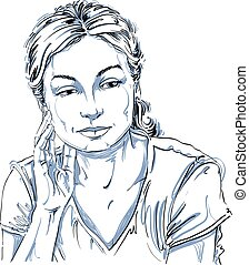 Vector drawing of thinking woman with stylish haircut. Black...