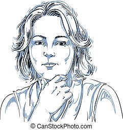 Portrait of delicate good-looking woman thinking about something, black and white vector drawing. Emotional expressions idea image.