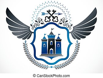 Vintage winged emblem created in vector heraldic design and composed using medieval tower and security keys.