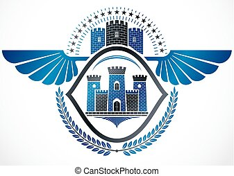 Vintage winged emblem created in vector heraldic design and composed using ancient castle and laurel wreath.