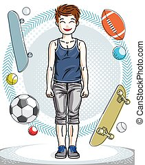 Cute little boy child standing wearing fashionable casual clothes. Vector attractive kid illustration.