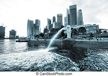 Singapore cityscape with famous Merlion statue, Asia. Logos...