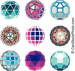 Set of vector low poly spherical objects with connected lines and dots, 3d geometric wireframe shapes. Perspective trigonometry facet orbs created with triangles, squares and pentagons.