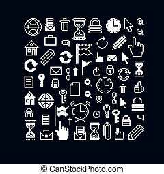 Vector flat 8 bit icons, collection of simple geometric...