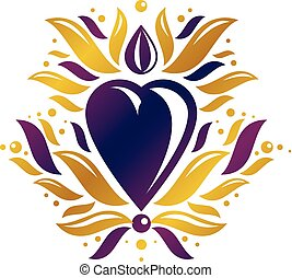 Vintage heraldic vector emblem created with golden lily flower royal symbol and romantic heart shape. Element for design.