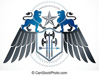 Heraldic winged sign created with vector vintage elements like wild lions, pentagonal stars and hatchets.