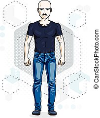 Happy bald young adult man standing, hipster. Vector character with mustaches wearing casual clothes like jeans and T-shirt.