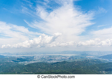 Hong kong china cityscape aerial view from airplane