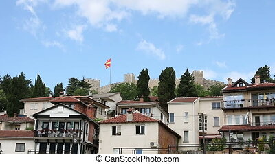 Samuel fortress with Macedonian flag Ohrid