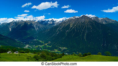 Tourist places in the summer in the Swiss mountains.