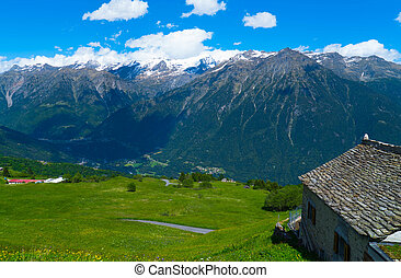 Countryside in the Swiss mountains.