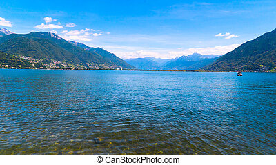 Lake Langensee in the canton of Tessin, Switzerland. - Lake...