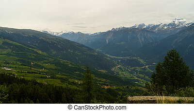 Swiss cities and villages in the Alpine mountains in Canton...