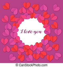 Paper heart red and pink background with I love you