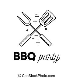 Barbecue party with skewer and spatula, line art logotype...