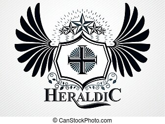 Classy emblem made with eagle wings decoration, Christian cross and pentagonal star symbols. Vector heraldic Coat of Arms.