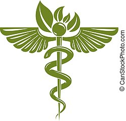 Caduceus symbol composed with poisonous snakes and bird...