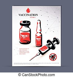 Planned immunization flyer template. Vector illustration of...