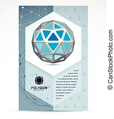 Communication technologies advertising poster. 3d design, abstract vector blue faceted shape.