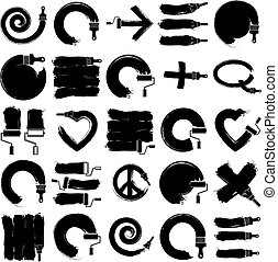 Vector art hand-painted signs collection created with smudge...